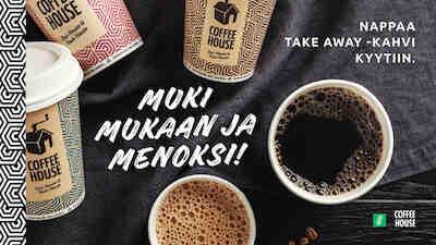 COffee House Mylly Foodora Raisio kotiinkuljetus nouto take away kauppakeskus Mylly