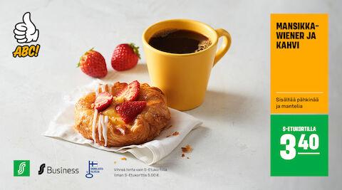 Mansikkawiener ja kahvi S-Etukortilla 3,40 €