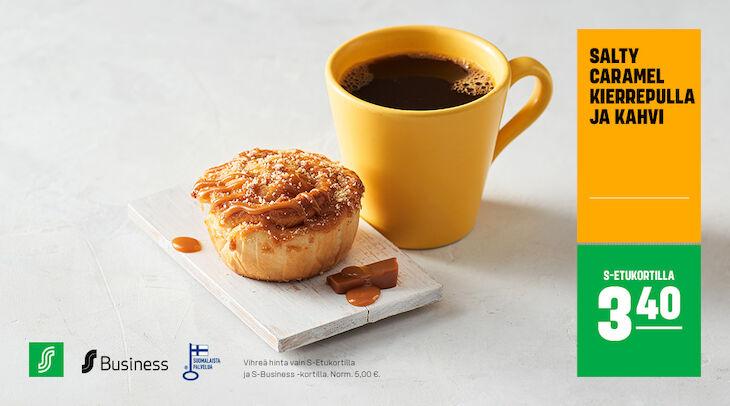 Salty Caramel kierrepulla ja kahvi S-Etukortilla 3,40 €