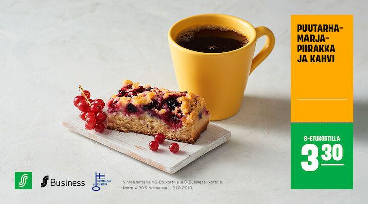 Puutarhamarjapiirakka ja kahvi S-Etukortilla 3,30 €