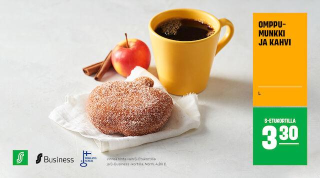 Omppumunkki ja kahvi S-Etukortilla 3,30 €