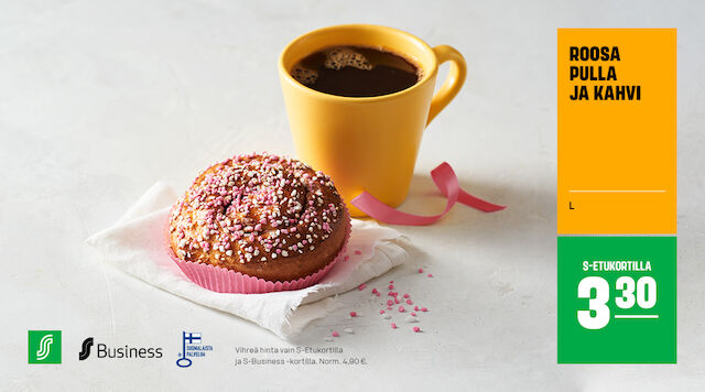 Roosa nauha pulla ja kahvi S-Etukortilla 3,30 €