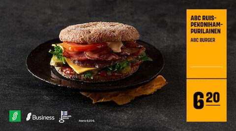ABC ruispekonihampurilainen (ABC Burger) 6,20 € (ateria 8,20 €)