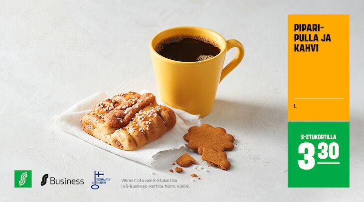 Joulunmakuinen kahvihetki, piparipulla ja kahvi 3,30 € (norm. 4,90 €)