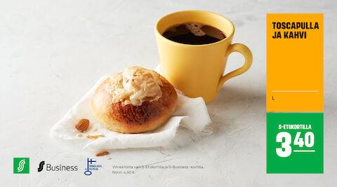 Klassinen toscapulla ja kahvi 3,40 € (norm. 4,90 €)