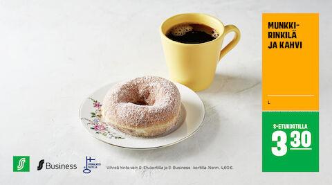 Munkkirinkilä ja kahvi S-Etukortilla 3,30 € (norm. 4,60 €)