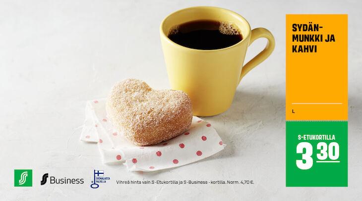 Sydänmunkki ja kahvi S-Etukortilla 3,30 € (norm. 4,70 €)