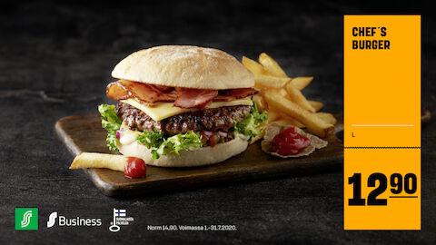 Chef´s Burger 12,90 € (norm. 14,90 €)