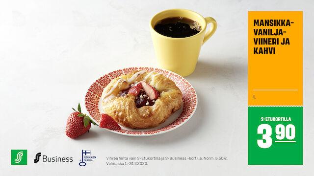 Mansikka-vaniljaviineri ja kahvi S-Etukortilla 3,90 € (norm. 5,50 €)