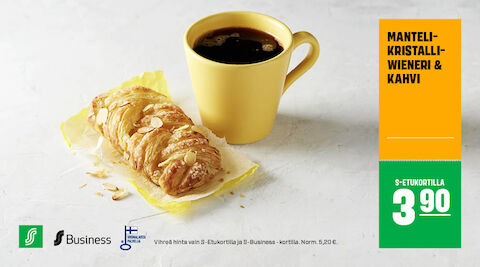 Manteli-kristalliwieneri ja kahvi S-Etukortilla 3,90 € (norm. 5,20 €)