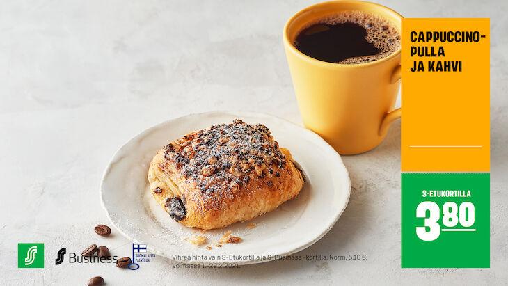 Cappuccinopulla ja kahvi S-Etukortilla 3,80 € (norm. 5,10 €)