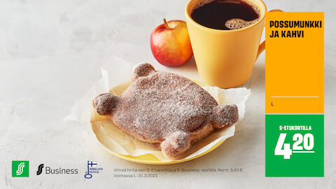 Possumunkki ja kahvi S-Etukortilla 4,20 € (norm. 5,50 €)