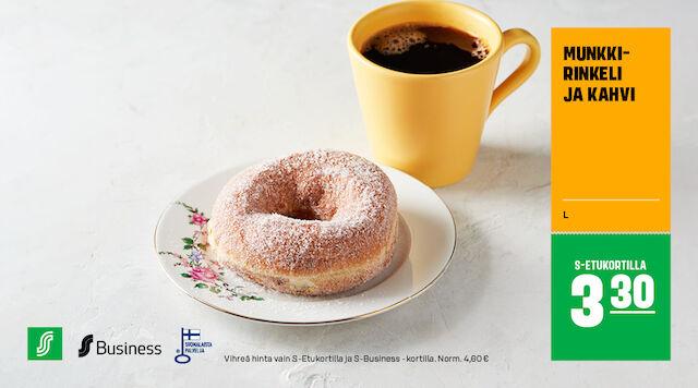 Munkkirinkeli & kahvi S-Etukortilla 3,30 € (norm. 4,60 €)