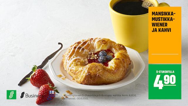 Mansikka-mustikkawiener ja kahvi S-Etukortilla 4,90 €