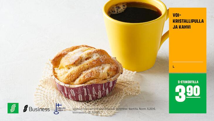 Voi-kristallipulla & kahvi S-Etukortilla 3,90 € (norm. 5,20 €)