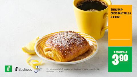 Sitruunacroissantpulla ja kahvi S-Etukortilla 3,90 € (norm. 5,20 €)