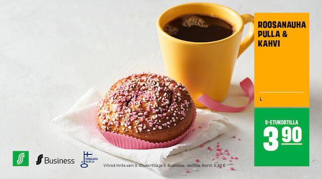 Roosa nauha -pulla & kahvi S-Etukortilla 3,90 € (norm. 5,20 €)