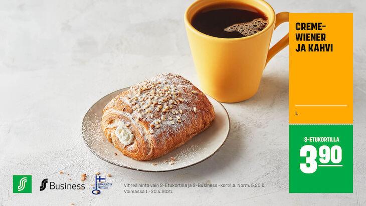Cremewiener ja kahvi S-Etukortilla 3,90 € (norm. 5,20 €)