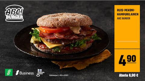 ABC Burger Ruis-pekonihampurilainen 4,90 € tai koko ateria 6,90 €