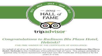 Neljä Suomen Radisson Blu Hotellia TripAdvisor Hall of Fame:een