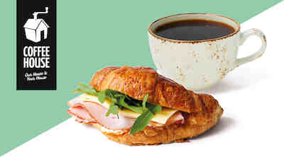 Coffee House täytetty croissant & kahvi Raflaamo