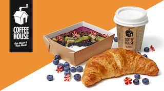 Coffee House Smoothie Bowl & Croissant & Kahvi Raflaamo