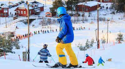 Talviloma Vaasassa, laskettelu lastenrinne
