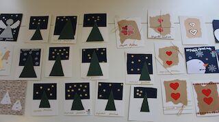 Yhdessä askartelemat joulukortit