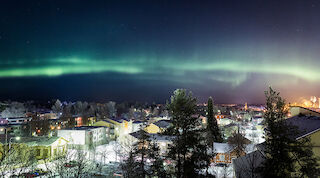 aurora borealis, winter, mikkeli, nature, city