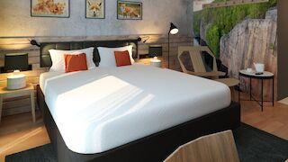 Hotellihuoneiden uudistuksessa on käytetty alueellista inspiraatiota ja teemat kunnioittavat Pohjoista Kymenlaaksoa monipuolisesti.