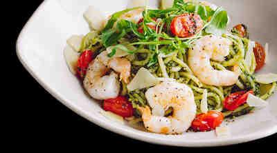 Spaghetterian kauden suosituspasta Spaghetti con Scampi e Pesto al Cavolo edullisesti S-Etukortilla