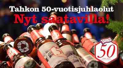 Tahko 50-v. juhlaolut ja juhlakahvi saatavilla