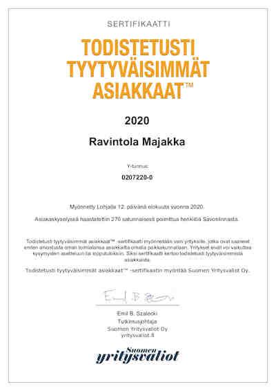 Sertifikaatti todistetusti tyytyväisimmät asiakkaat 2020